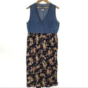 80's-90's vintage denim floral button up dress